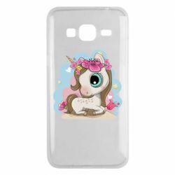 Чохол для Samsung J3 2016 Unicorn with flowers