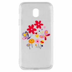 Чехол для Samsung J3 2017 Flowers and Butterflies