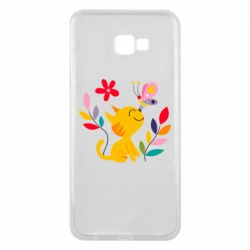 Чехол для Samsung J4 Plus 2018 Cat, Flowers and Butterfly