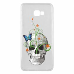 Чехол для Samsung J4 Plus 2018 Skull and green flower