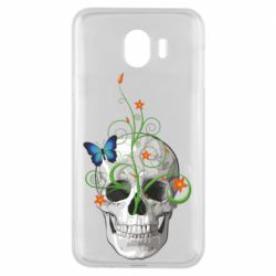 Чехол для Samsung J4 Skull and green flower