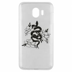 Чохол для Samsung J4 Snake with flowers