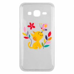 Чехол для Samsung J5 2015 Cat, Flowers and Butterfly