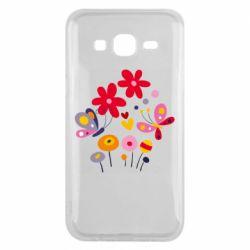 Чехол для Samsung J5 2015 Flowers and Butterflies