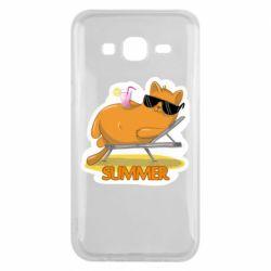 Чохол для Samsung J5 2015 Котик на пляжі