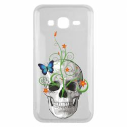 Чехол для Samsung J5 2015 Skull and green flower