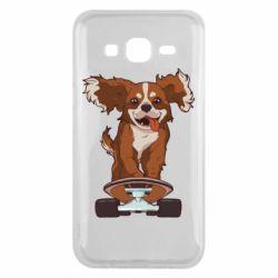 Чехол для Samsung J5 2015 Собака Кавалер на Скейте