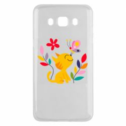 Чехол для Samsung J5 2016 Cat, Flowers and Butterfly