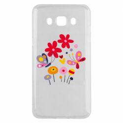 Чехол для Samsung J5 2016 Flowers and Butterflies