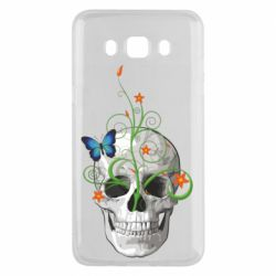 Чехол для Samsung J5 2016 Skull and green flower
