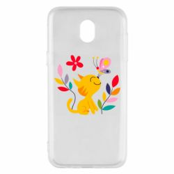 Чехол для Samsung J5 2017 Cat, Flowers and Butterfly