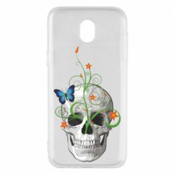 Чехол для Samsung J5 2017 Skull and green flower