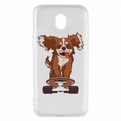 Чехол для Samsung J5 2017 Собака Кавалер на Скейте