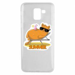 Чохол для Samsung J6 Котик на пляжі