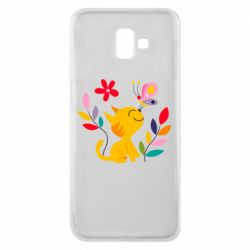 Чехол для Samsung J6 Plus 2018 Cat, Flowers and Butterfly