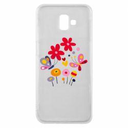 Чехол для Samsung J6 Plus 2018 Flowers and Butterflies
