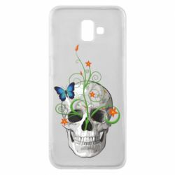 Чехол для Samsung J6 Plus 2018 Skull and green flower