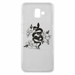 Чохол для Samsung J6 Plus 2018 Snake with flowers