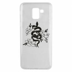 Чохол для Samsung J6 Snake with flowers
