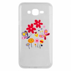 Чехол для Samsung J7 2015 Flowers and Butterflies