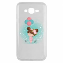 Чехол для Samsung J7 2015 Girl with balloons