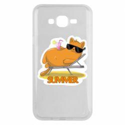 Чохол для Samsung J7 2015 Котик на пляжі