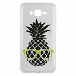 Чехол для Samsung J7 2015 Pineapple with glasses