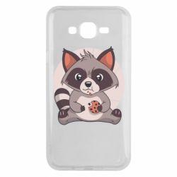 Чохол для Samsung J7 2015 Raccoon with cookies