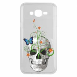 Чехол для Samsung J7 2015 Skull and green flower