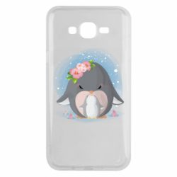 Чехол для Samsung J7 2015 Two cute penguins