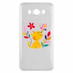 Чехол для Samsung J7 2016 Cat, Flowers and Butterfly