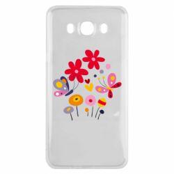 Чехол для Samsung J7 2016 Flowers and Butterflies