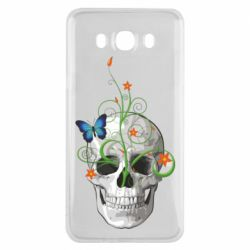 Чехол для Samsung J7 2016 Skull and green flower