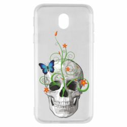 Чехол для Samsung J7 2017 Skull and green flower