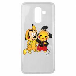 Чехол для Samsung J8 2018 Mickey and Pikachu