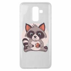 Чохол для Samsung J8 2018 Raccoon with cookies