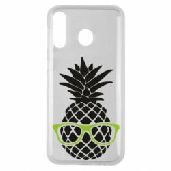 Чехол для Samsung M30 Pineapple with glasses