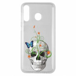Чехол для Samsung M30 Skull and green flower