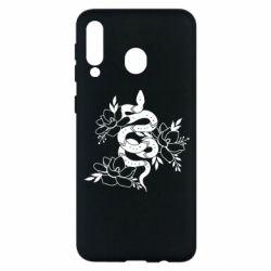 Чохол для Samsung M30 Snake with flowers