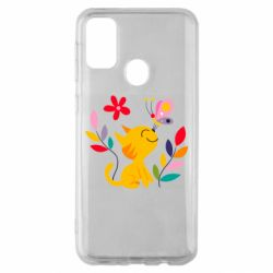 Чехол для Samsung M30s Cat, Flowers and Butterfly