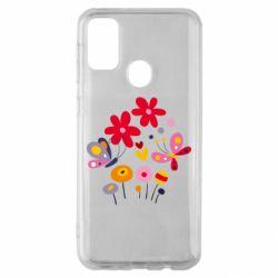 Чехол для Samsung M30s Flowers and Butterflies