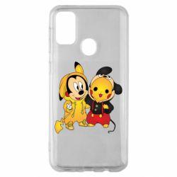 Чехол для Samsung M30s Mickey and Pikachu