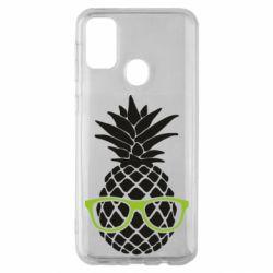 Чехол для Samsung M30s Pineapple with glasses