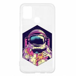 Чехол для Samsung M31 Astronaut with donut and pizza
