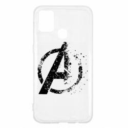 Чехол для Samsung M31 Avengers logotype destruction