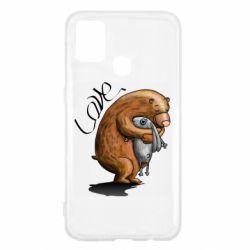 Чехол для Samsung M31 Bear hugs a hare