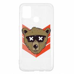 Чехол для Samsung M31 Bear with glasses
