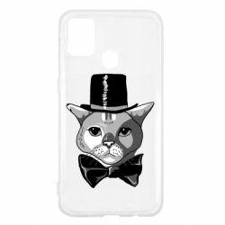 Чохол для Samsung M31 Black and white cat intellectual