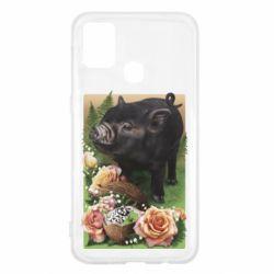 Чехол для Samsung M31 Black pig and flowers