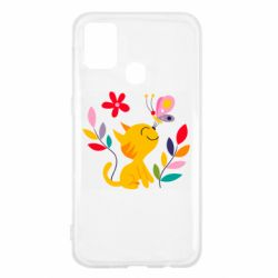 Чехол для Samsung M31 Cat, Flowers and Butterfly